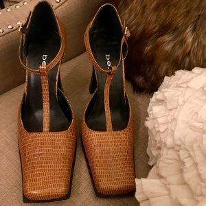 Bebe Brown Snakeskin T-Strap Ankle Straps Heels